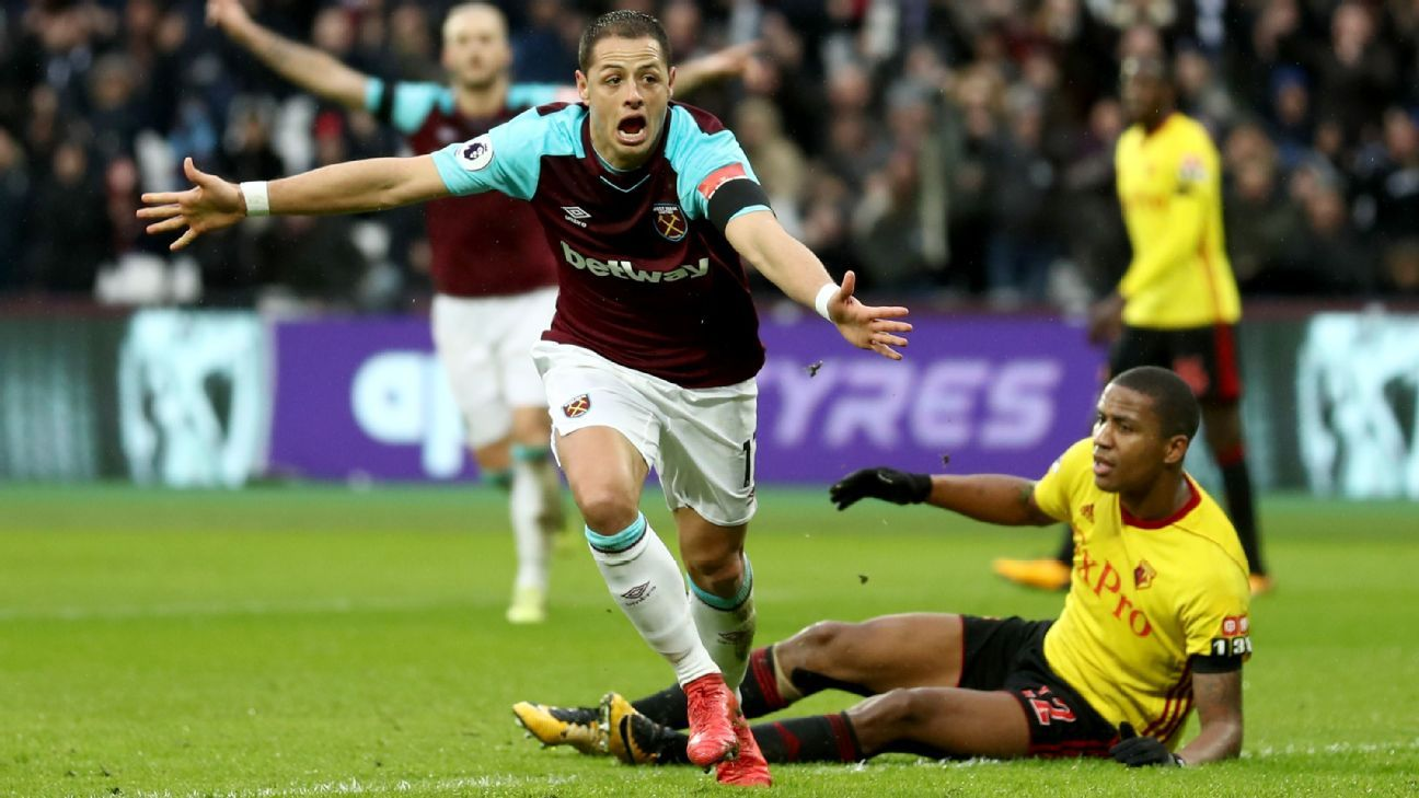 Javier Hernandez celebrates after scoring for West Ham against Watford.