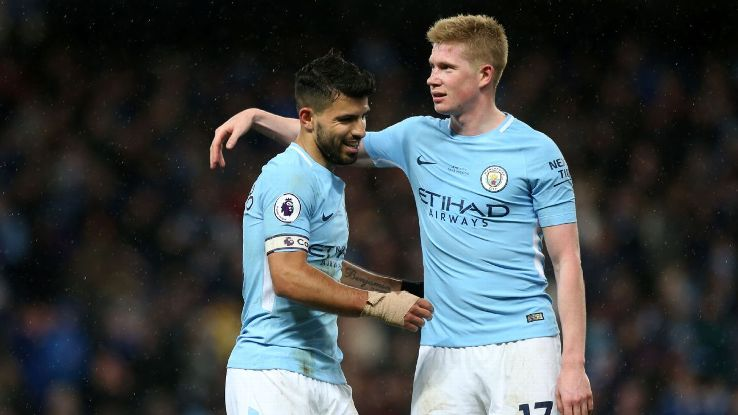Sergio Aguero and Kevin De Bruyne celebrate for Man City.