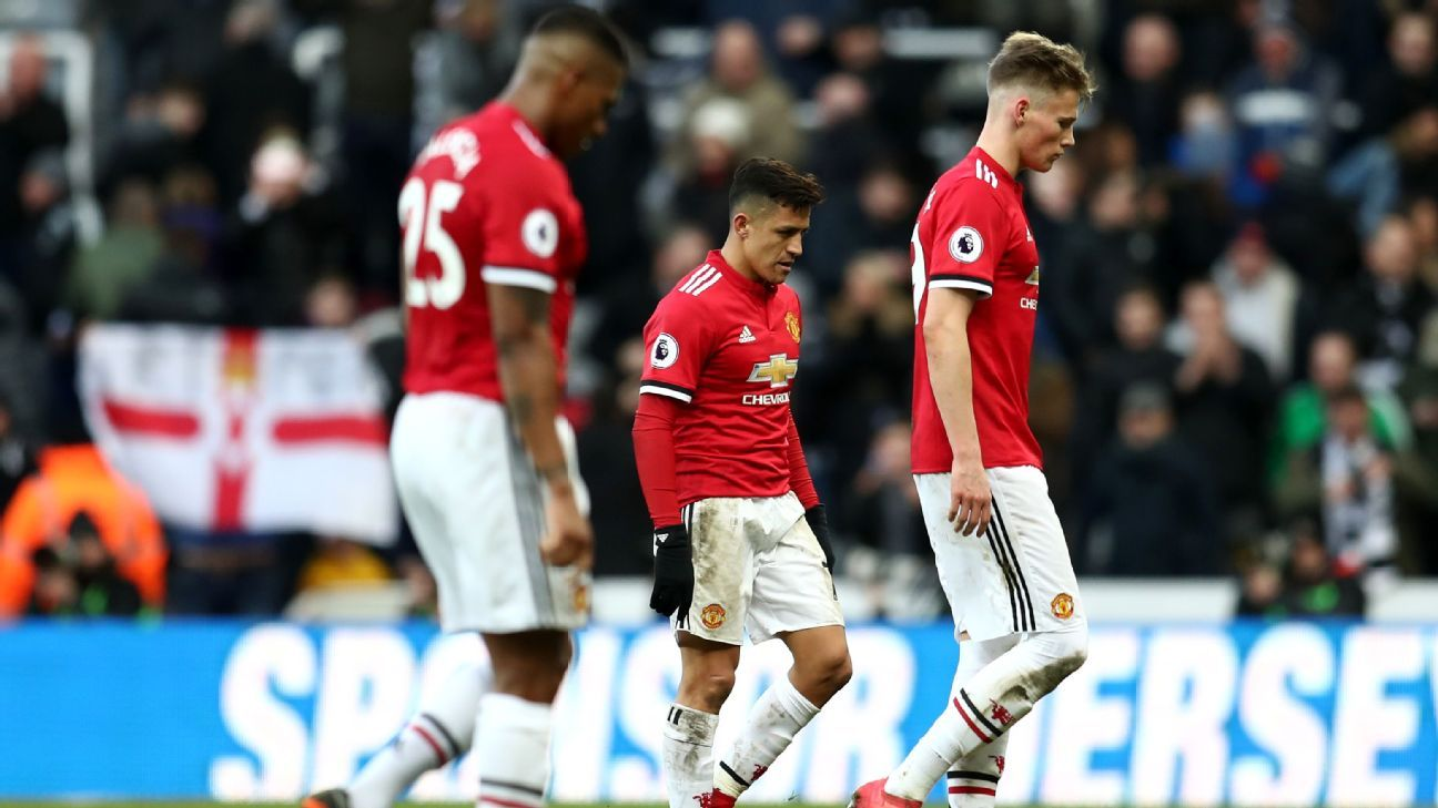 Alexis Sanchez of Manchester United looks dejected after the Premier League match at Newcastle United.