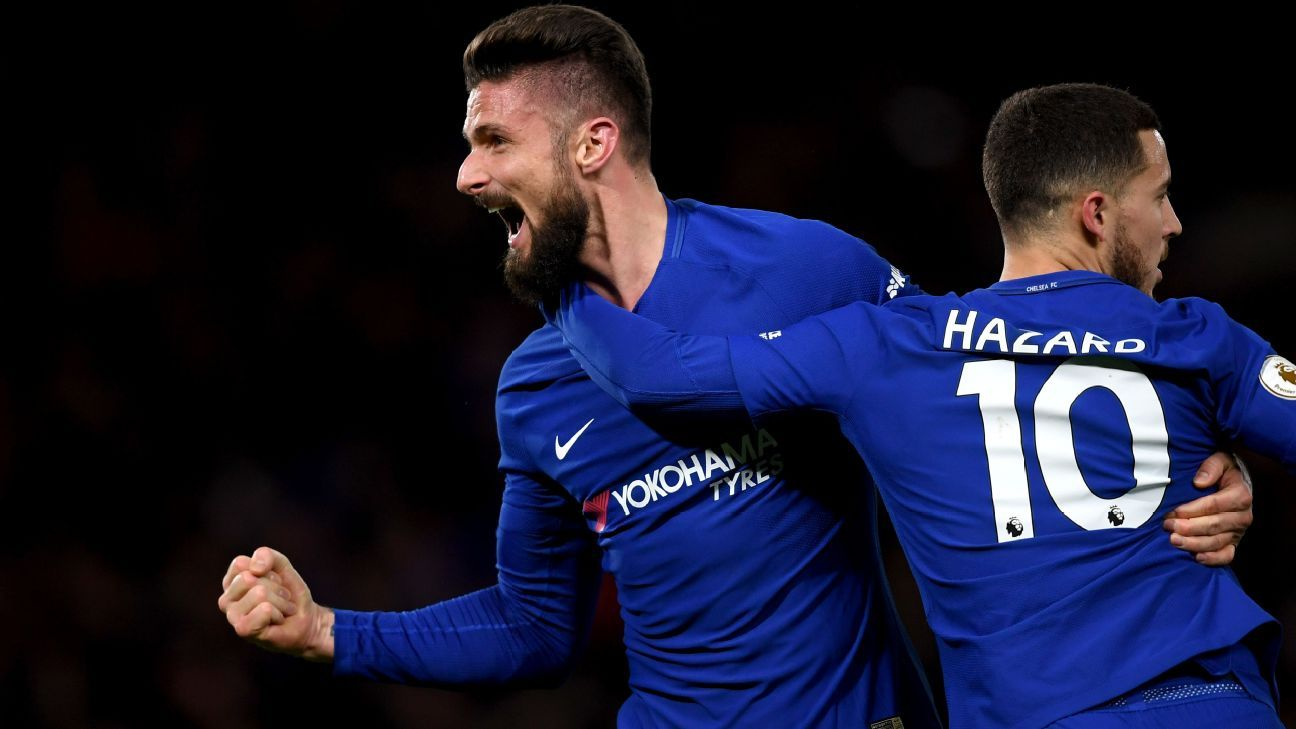Olivier Giroud and Eden Hazard celebrate against West Brom.