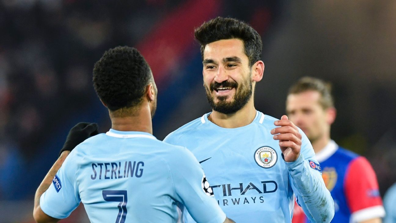 Ilkay Gundogan celebrates the second of his two goals vs. Basel.