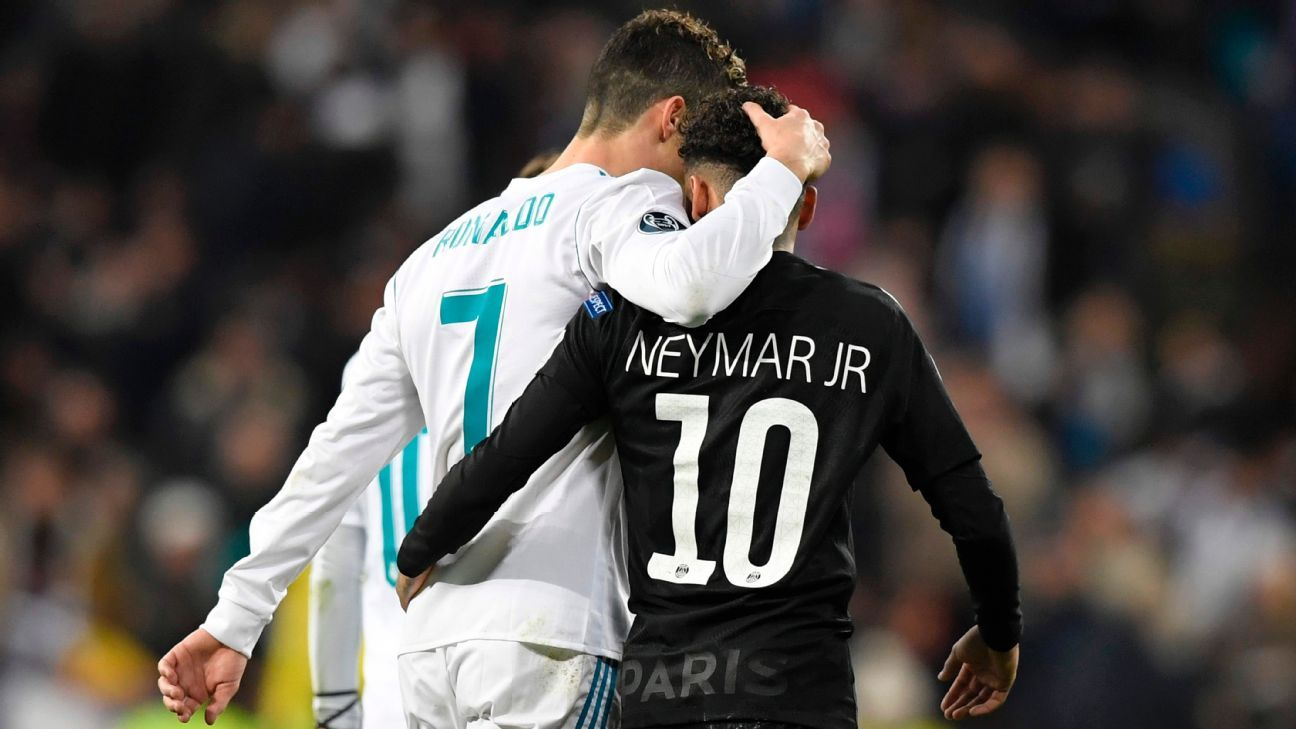 Cristiano Ronaldo and Neymar during Real Madrid's Champions League clash with Paris Saint-Germain in February.