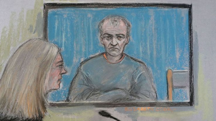Court picture of Barry Bennell appearing during his trial via video link