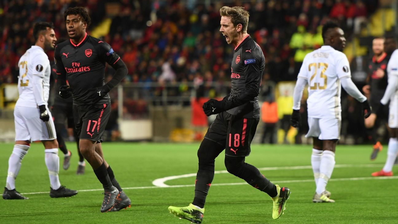 Nacho Monreal celebrates scoring Arsenal's opening goal in the Europa League.
