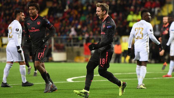 Nacho Monreal celebrates scoring Arsenal's opening goal in the Europa League.
