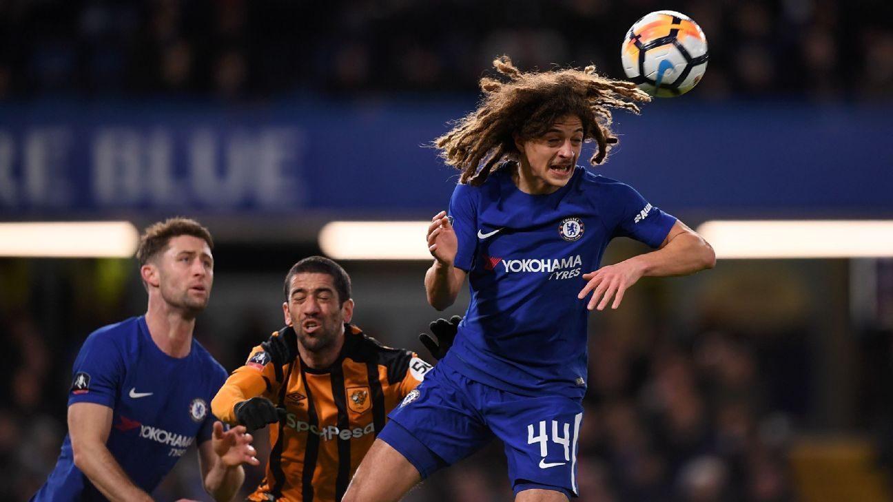 Ethan Ampadu heads the ball away from danger during Chelsea's FA Cup win against Hull.