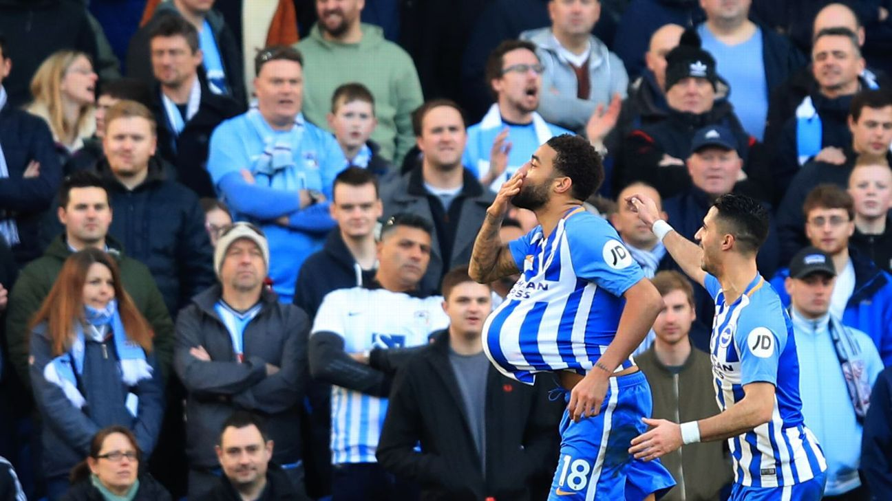 Brighton's Connor Goldson celebrates scoring his team's second goal vs Coventry