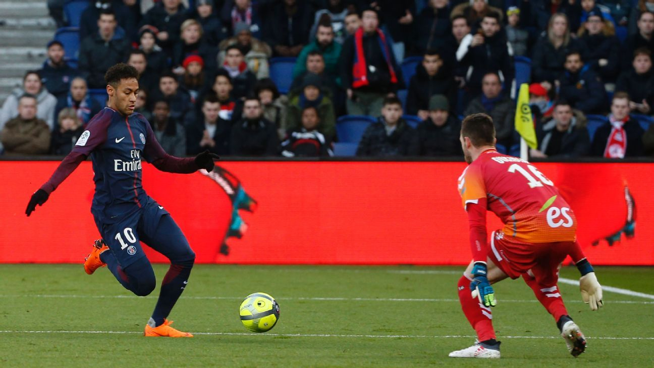 Paris Saint-Germain's Neymar scores against Strasbourg