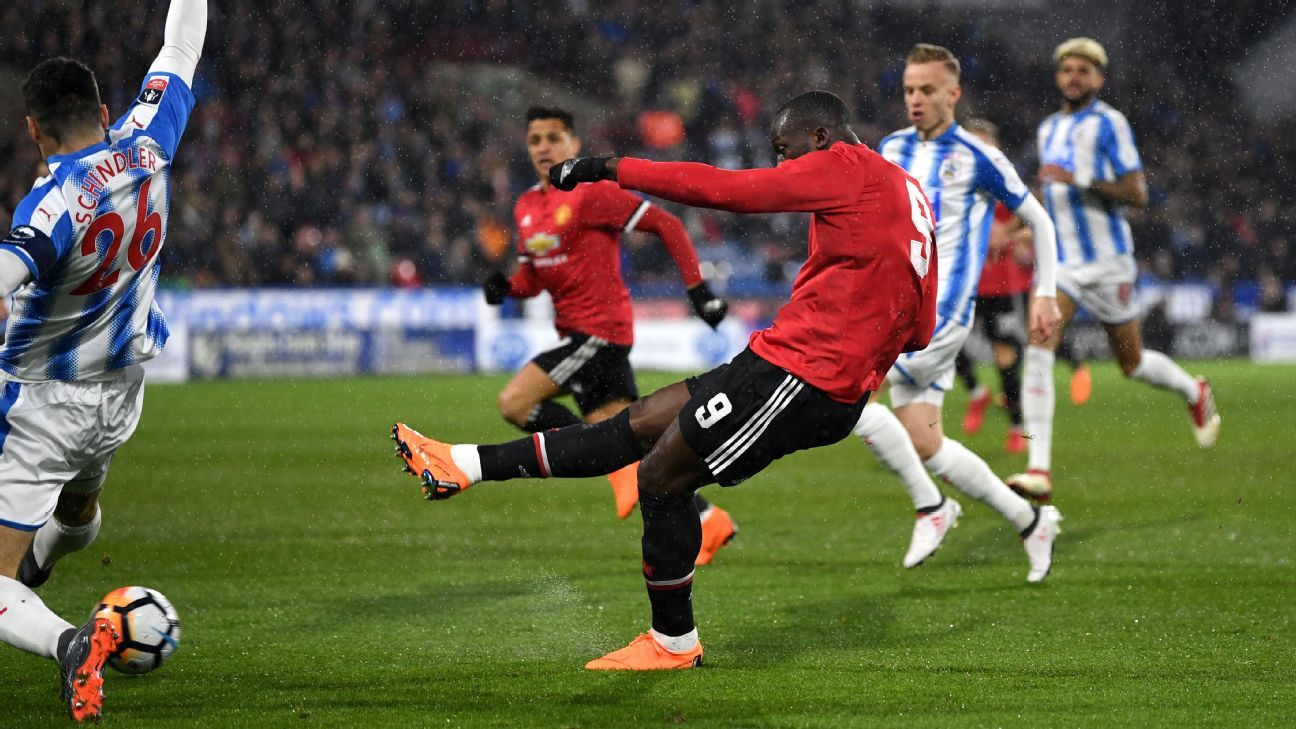 Romelu Lukaku scores for Manchester United against Huddersfield in the FA Cup.