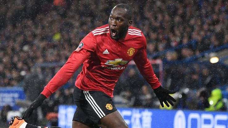 Romelu Lukaku celebrates after giving Man United the lead in their FA Cup game against Huddersfield.