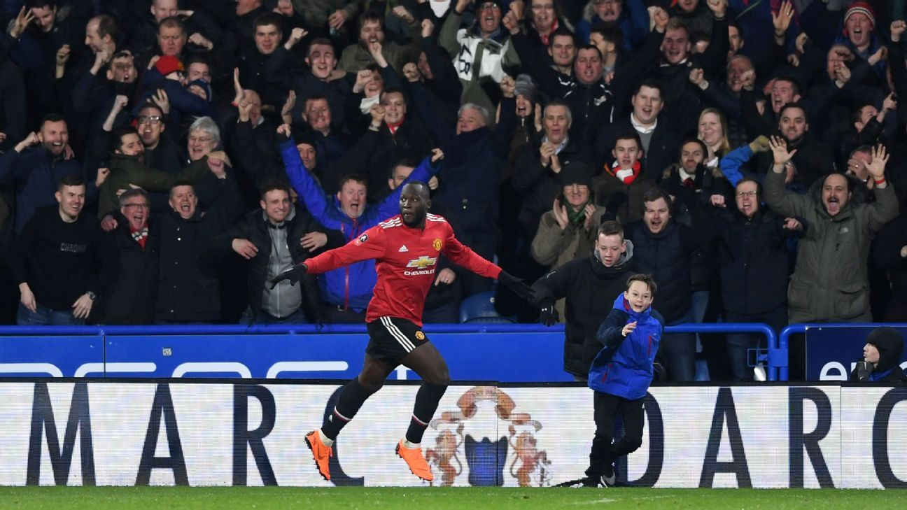 Romelu Lukaku celebrates after scoring Manchester United's second goal in their FA Cup tie against Huddersfield.