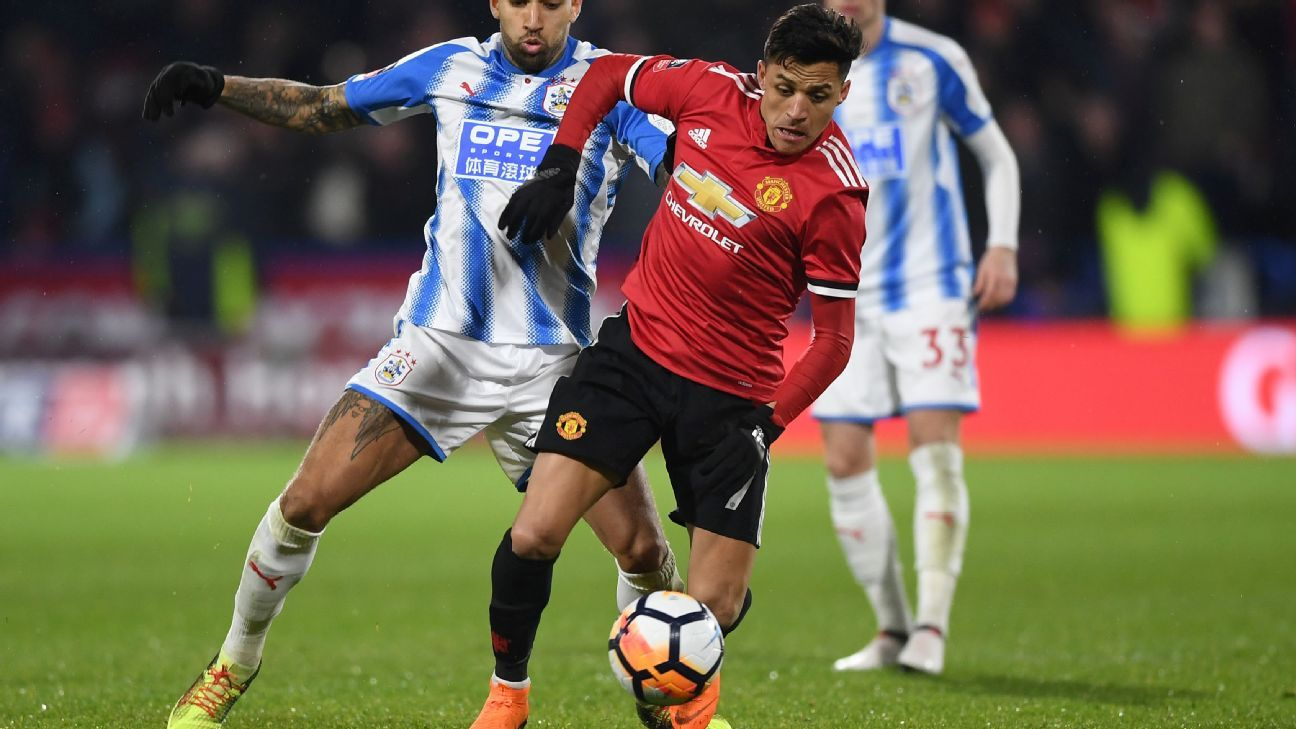 Alexis Sanchez in action for Manchester United during their FA Cup tie against Huddersfield.