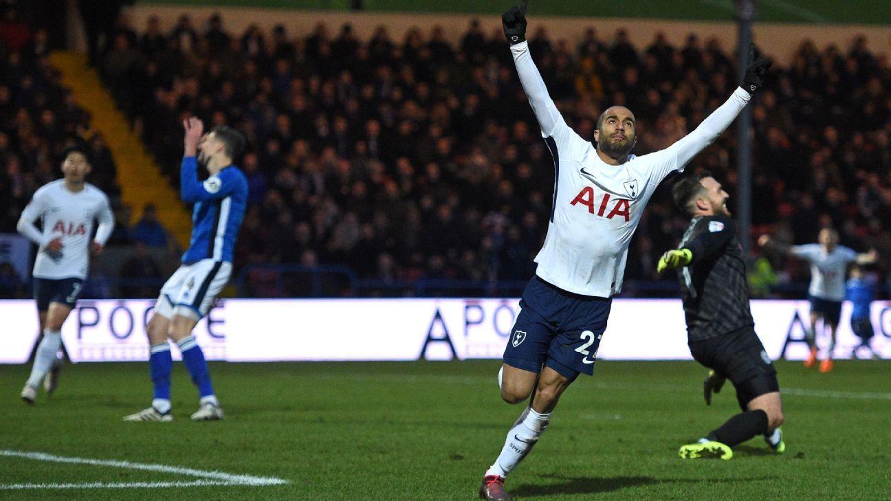 Tottenham's Lucas Moura celebrates scoring equaliser vs Rochdale