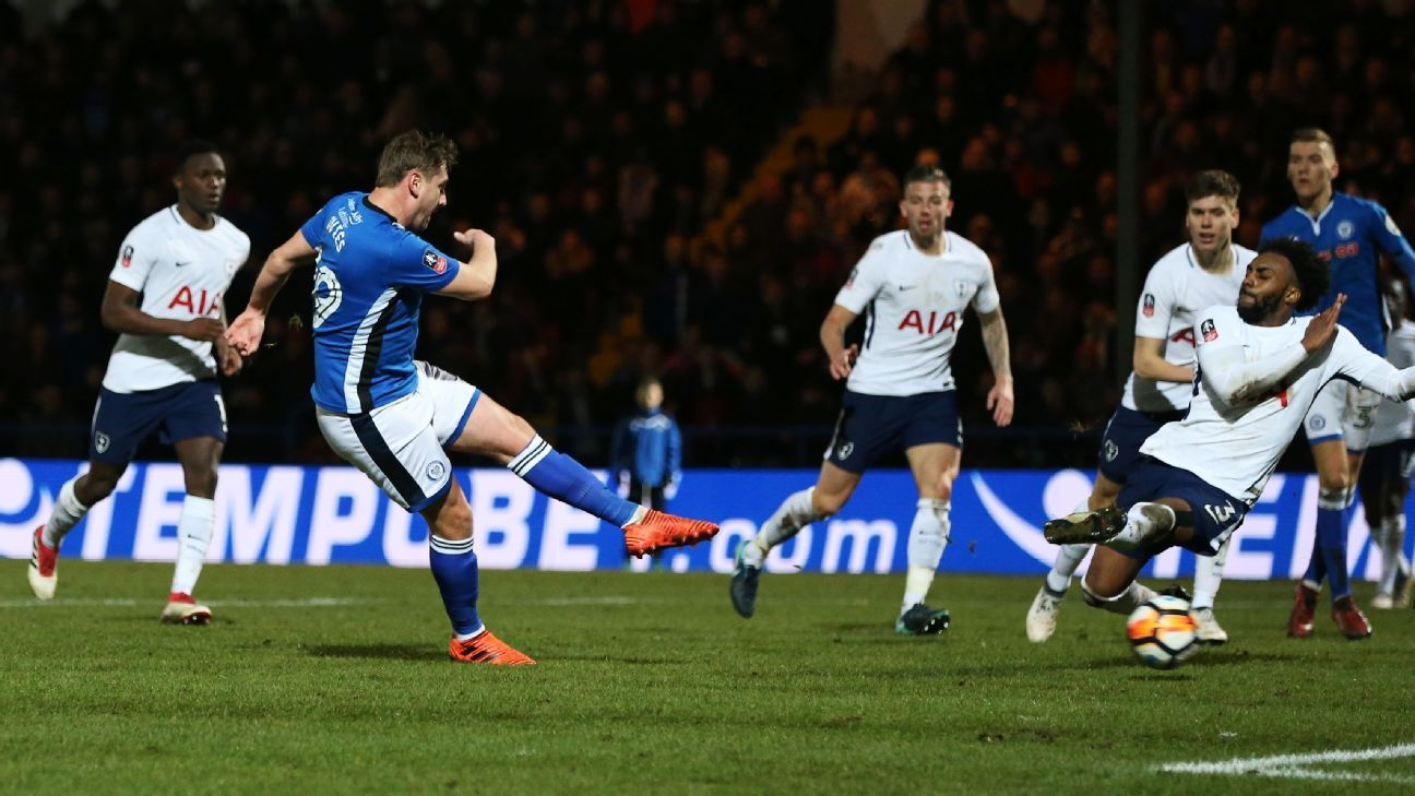 Steve Davies scores for Rochdale against Tottenham in the FA Cup.
