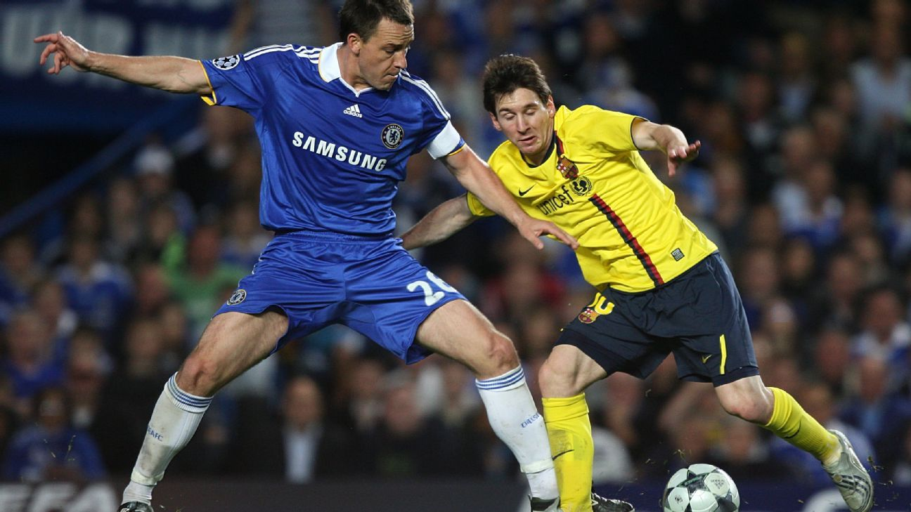 John Terry, left, battles Lionel Messi for the ball in a Champions League match between Chelsea and Barcelona.