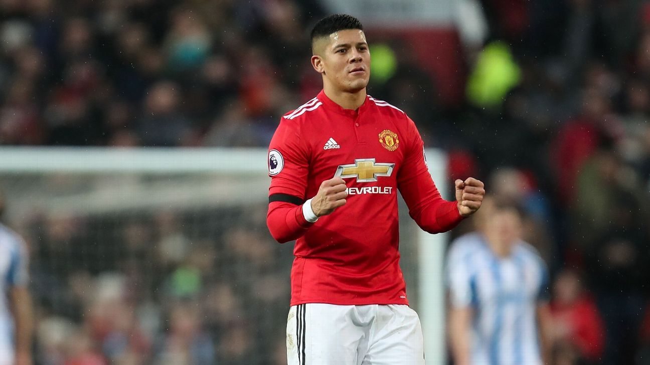 Marcos Rojo in action for Manchester United during their Premier League game against Huddersfield.