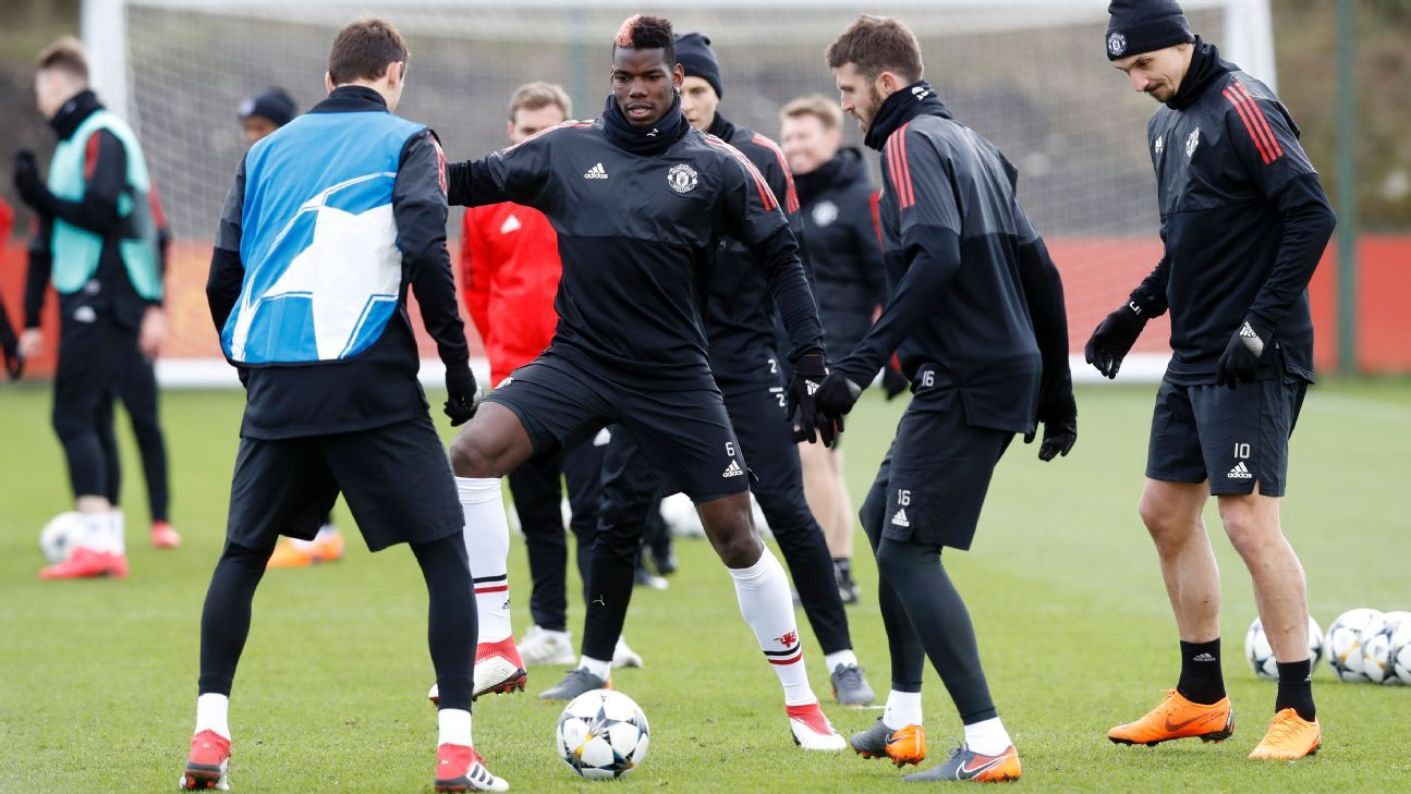 Paul Pogba trained for Manchester United ahead of their Champions League trip to Sevilla