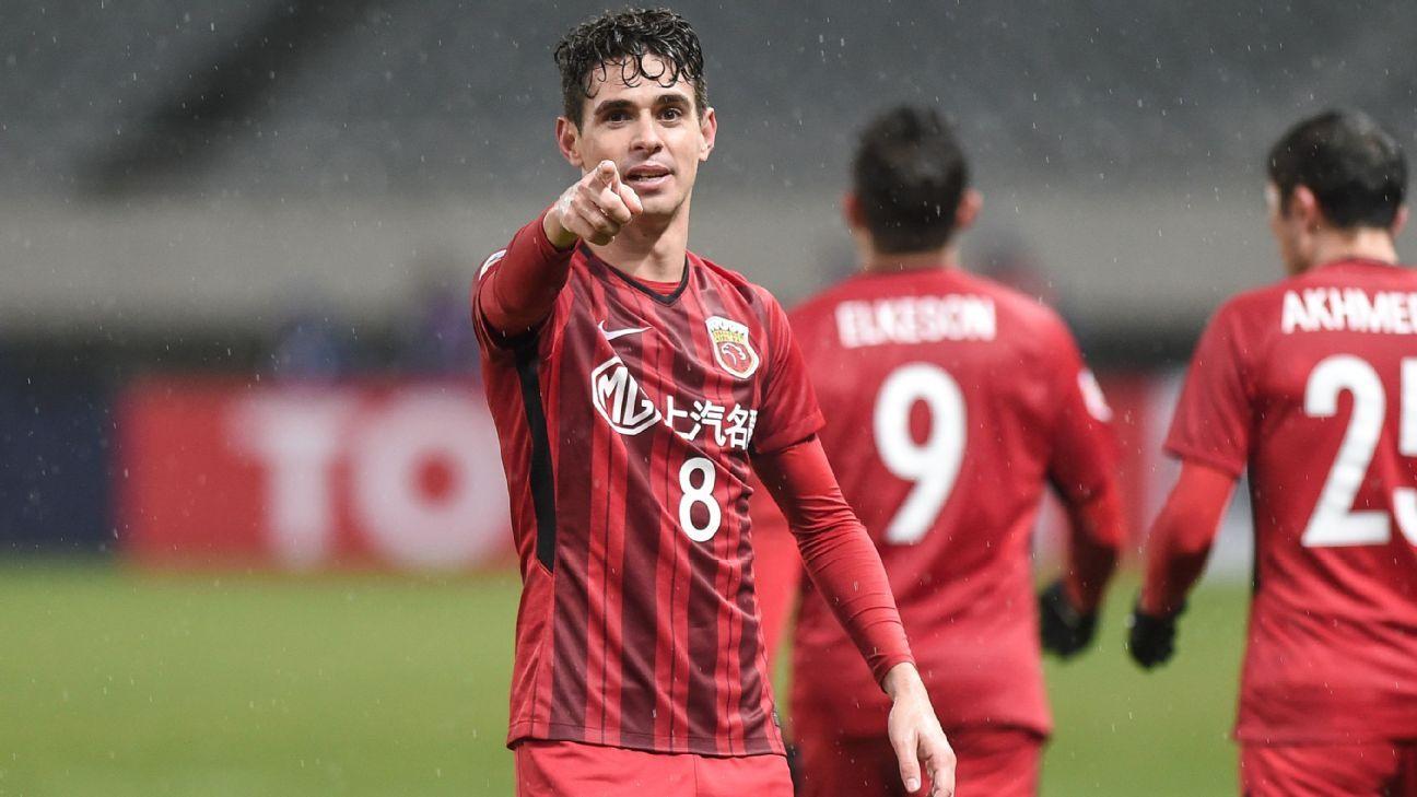 Oscar celebrates scoring against Melbourne Victory.