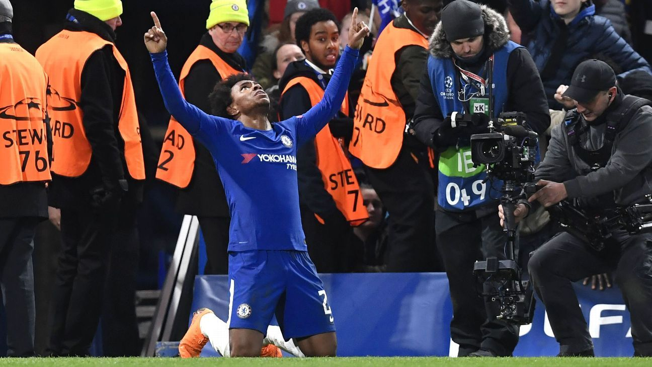 Willian celebrates his opener against Barcelona.