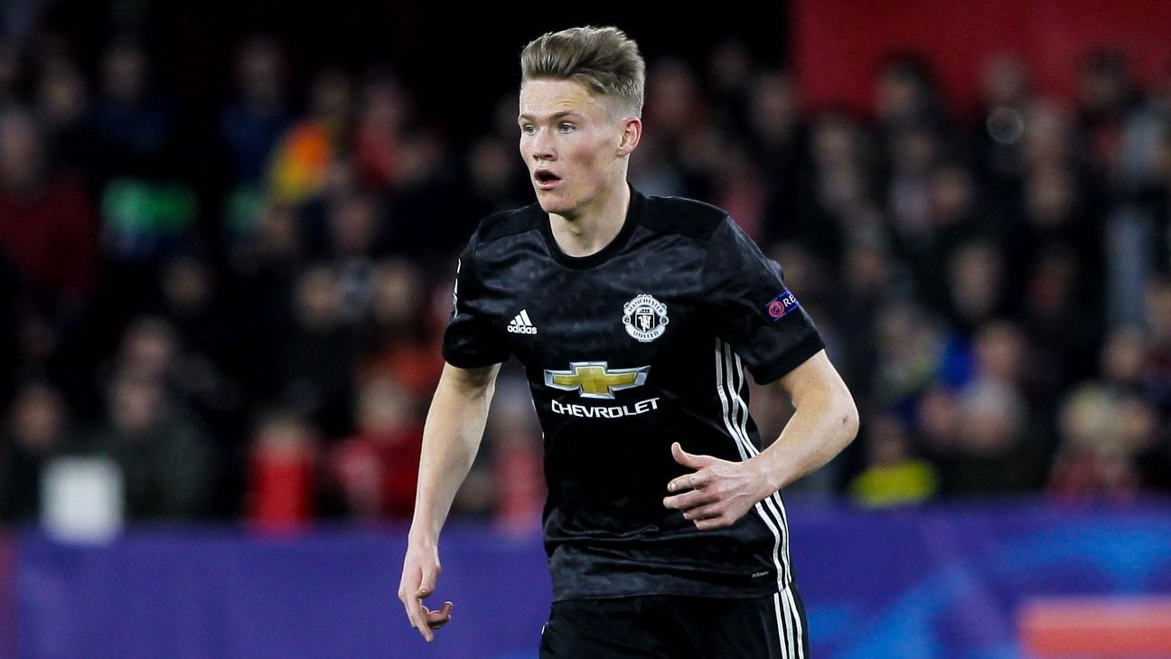 Scott McTominay in action for Manchester United against Sevilla in the Champions League.