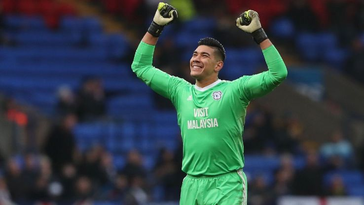 Cardiff City's Neil Etheridge celebrates after a Championship win against Bolton.