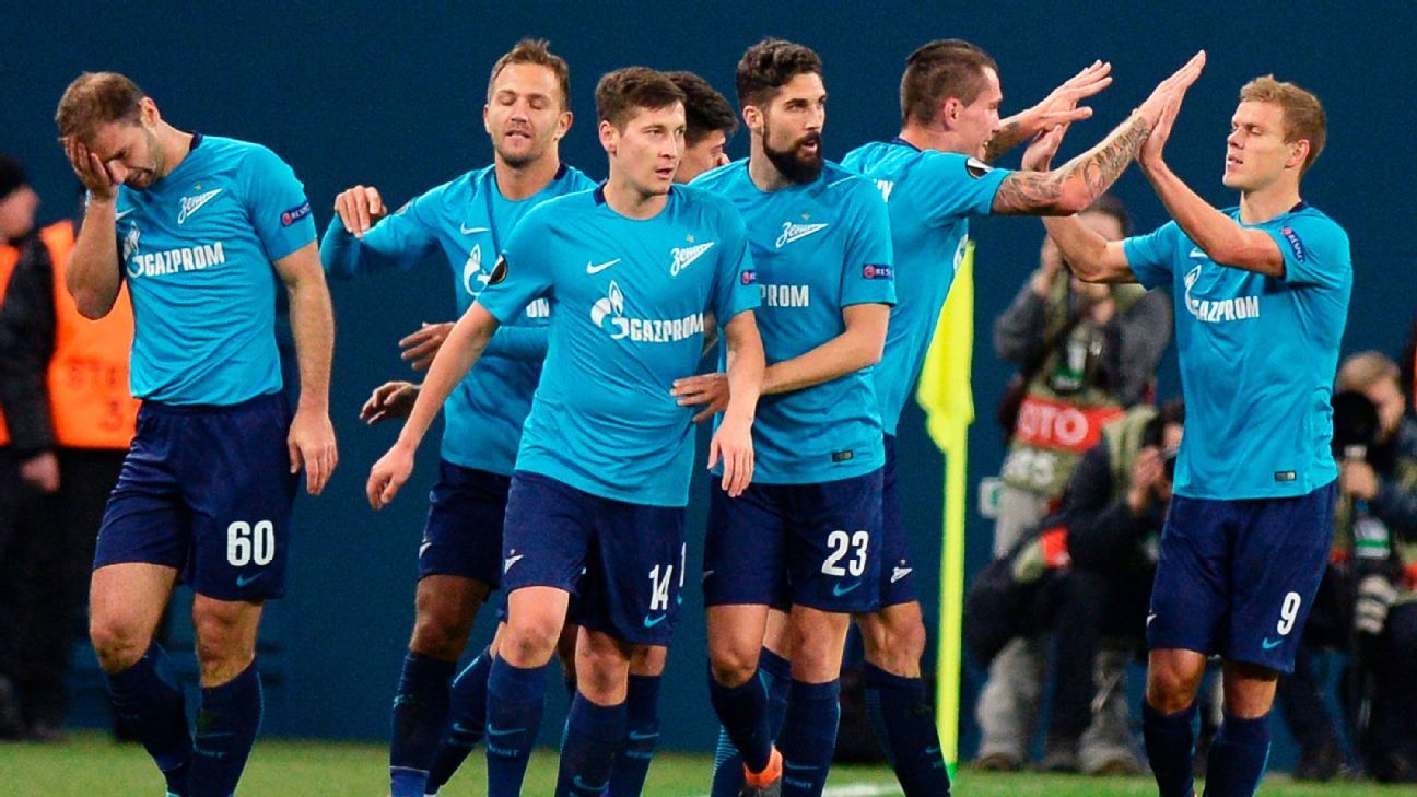 Zenit St Petersburg players celebrate after scoring a goal against Celtic in the Europa League.