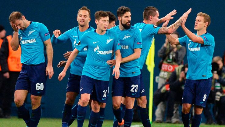 Zenit St Petersburg players celebrate after scoring against Celtic in the Europa League.