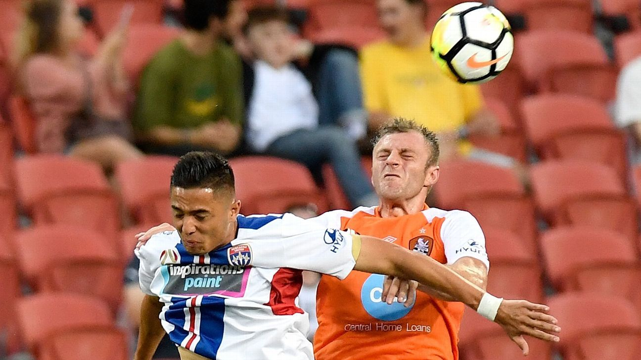 Newcastle Jets' Joseph Champness and Brisbane Roar's Avram Papadopoulos