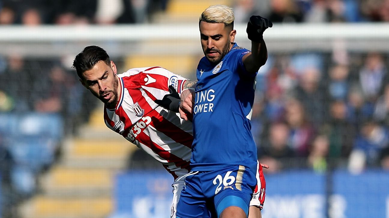 Stoke's Geoff Cameron and Leicester's Riyad Mahrez
