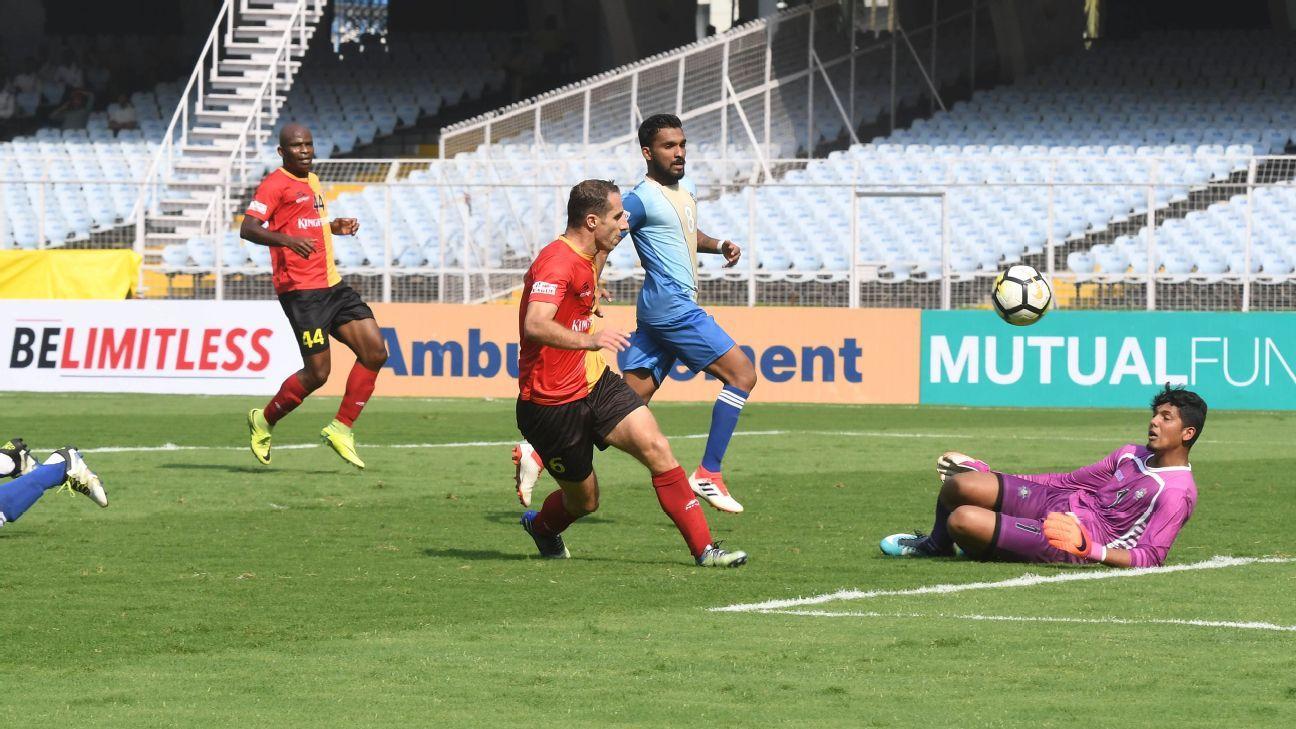 Mahmoud Al Amnah scores East Bengal's first goal.