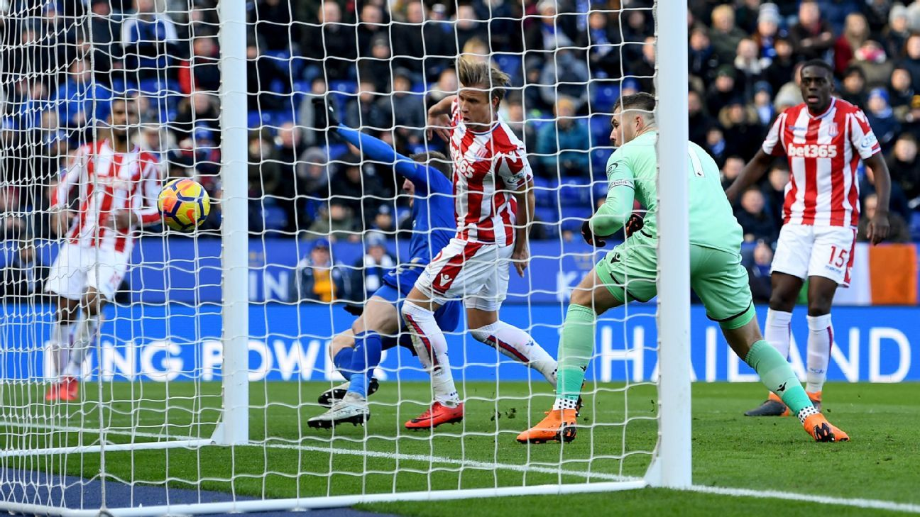 Stoke goalkeeper Jack Butland concedes own goal vs Leicester