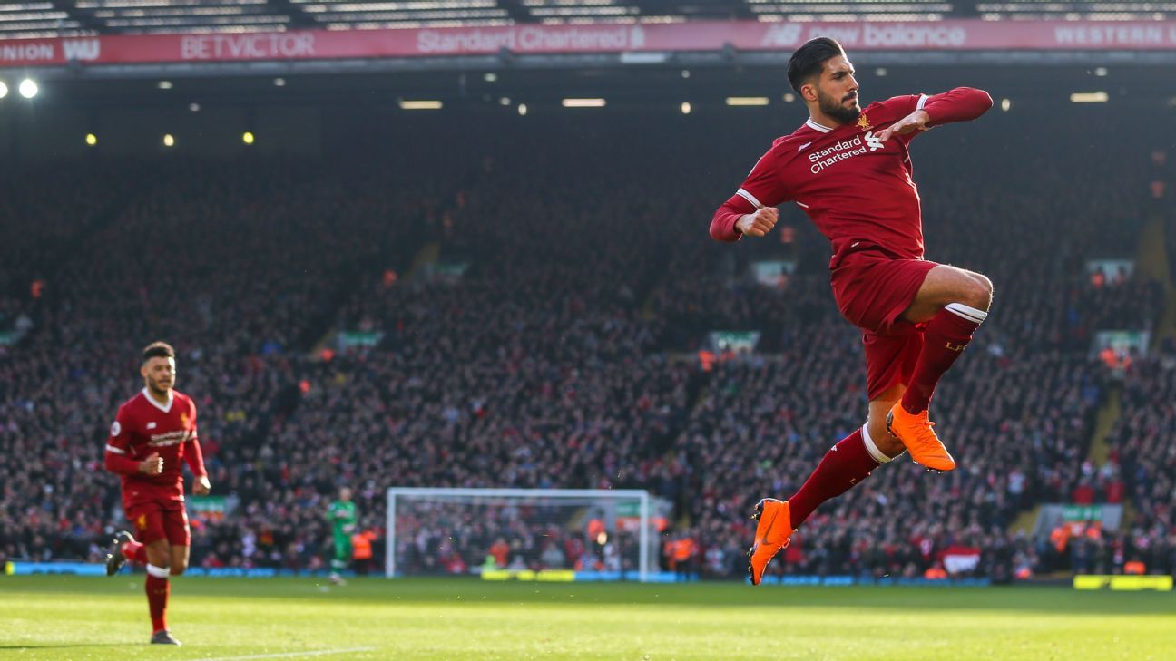 Liverpool's Emre Can celebrates scoring opening goal vs West Ham