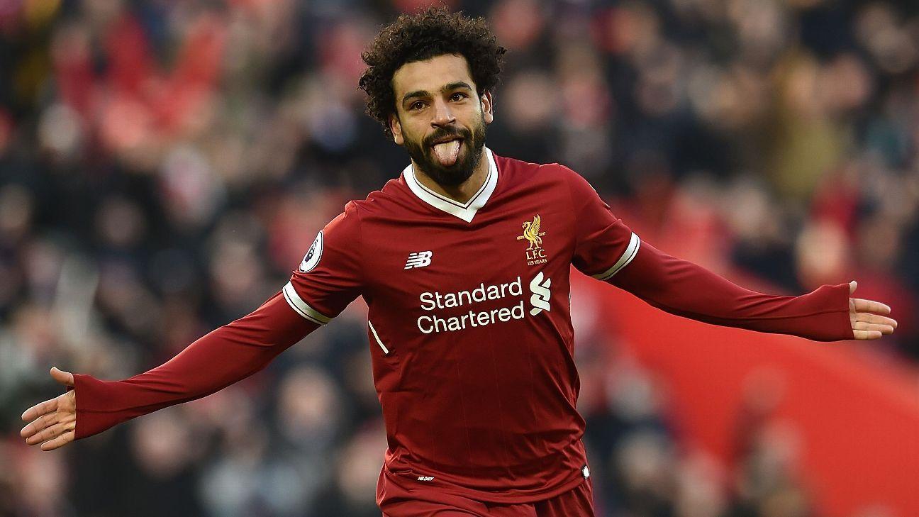 Liverpool's Mohamed Salah celebrates his goal vs West Ham