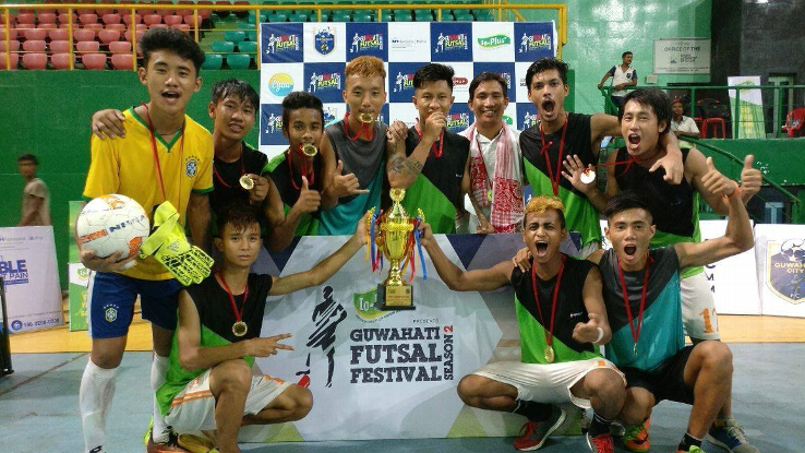 Flamingo FC of Guwahati, winners of 2nd Futsal Festival organised by the Guwahati City FC, which was competed between around 50 teams, including teams from outside the city, like Sikkim, Nagaland and Manipur.