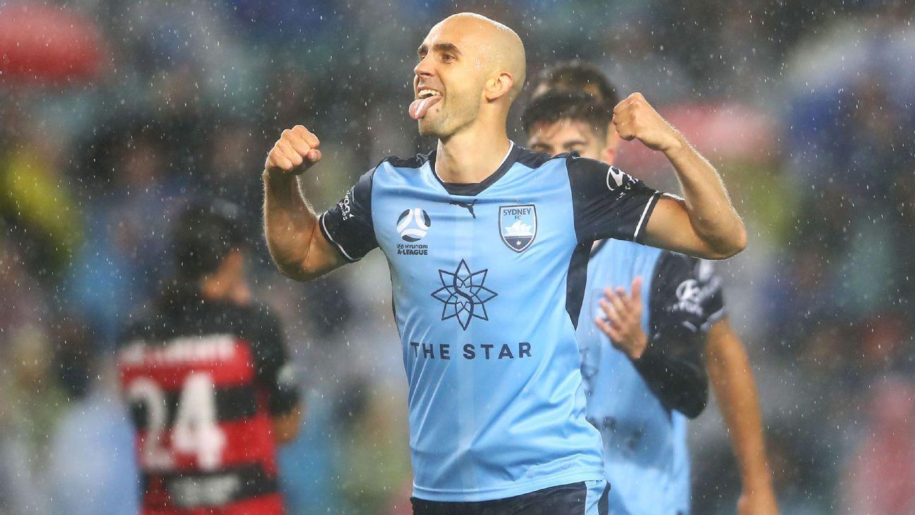 Sydney FC's Adrian Mierzejewski celebrates scoring goal against Western Sydney Wanderers