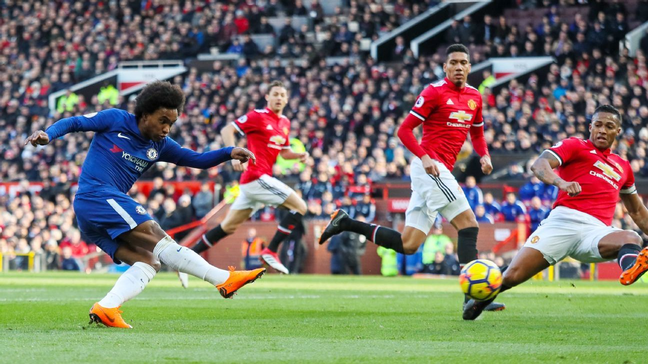 Willian scored in Chelsea's 2-1 defeat to Manchester United back in February.