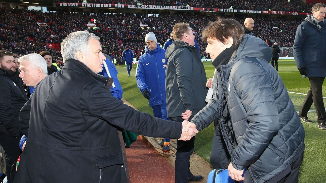 Manchester United's Jose Mourinho and Chelsea's Antonio Conte shake hands
