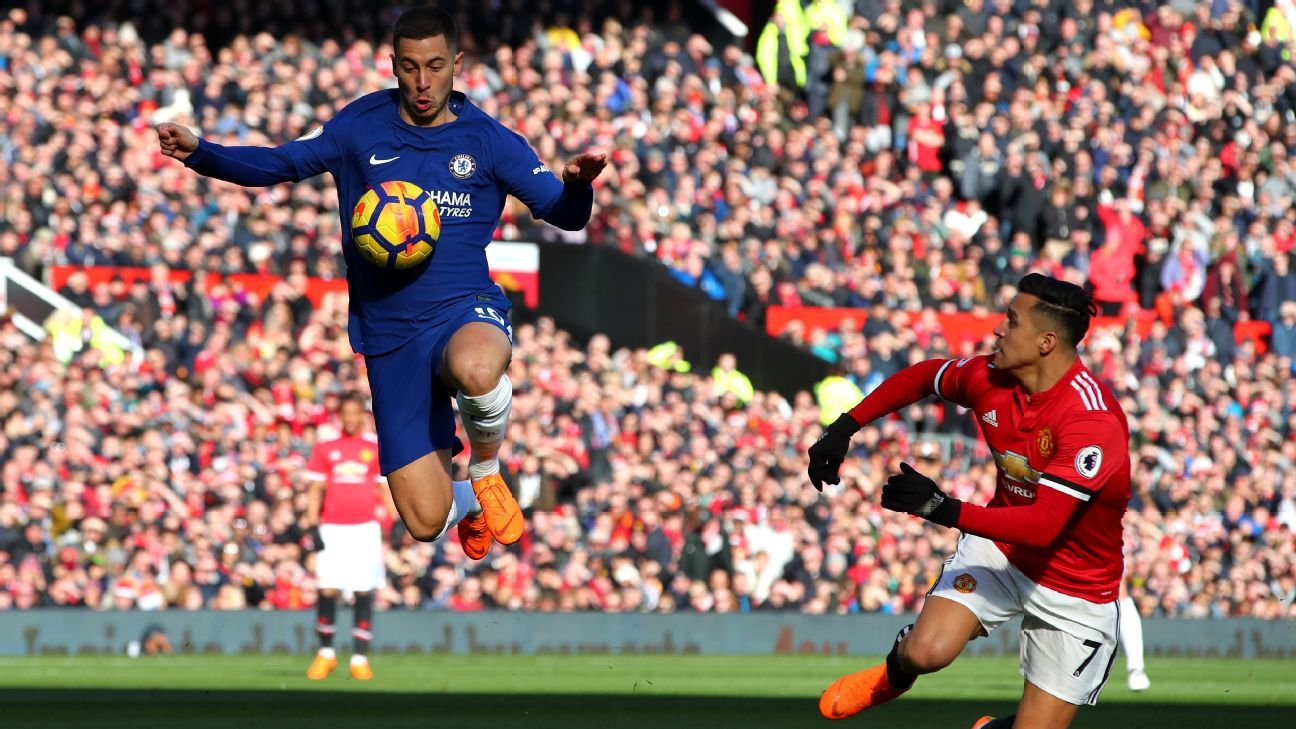 Chelsea's Eden Hazard and Manchester United's Alexis Sanchez