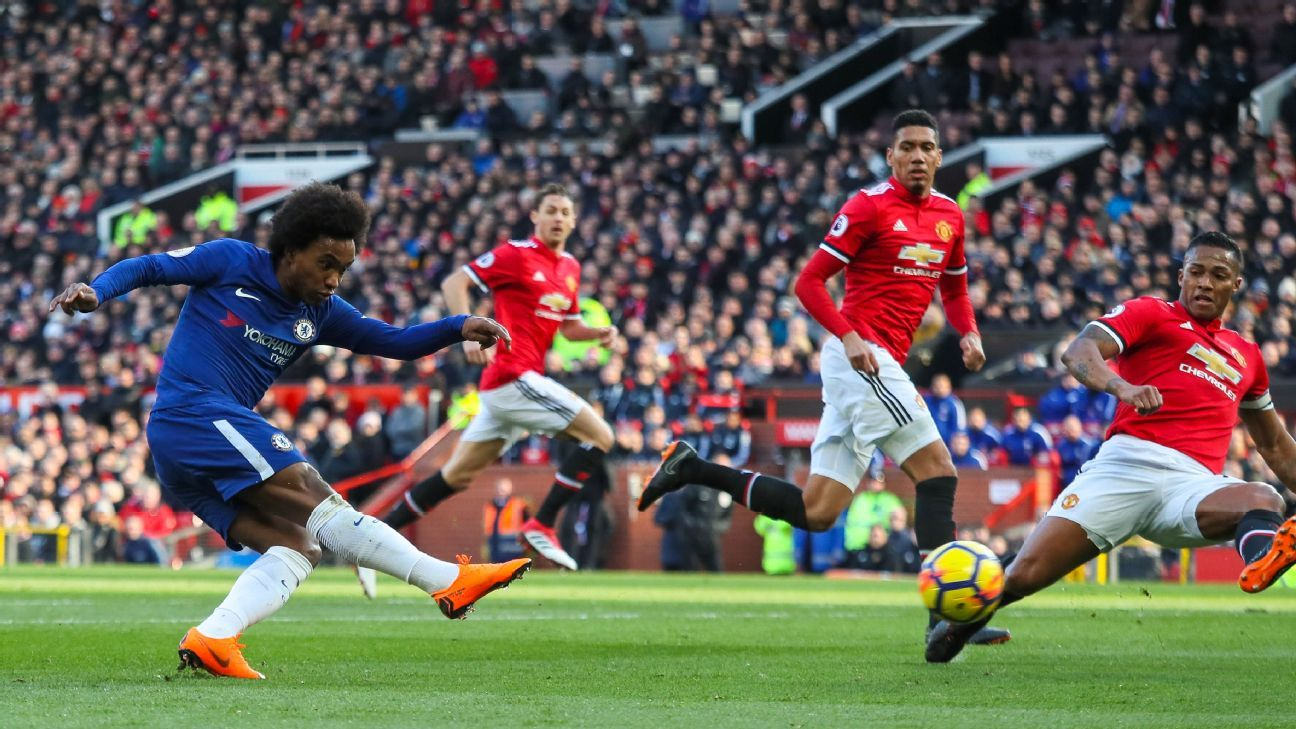 Chelsea's Willian scores opening goal vs Manchester United