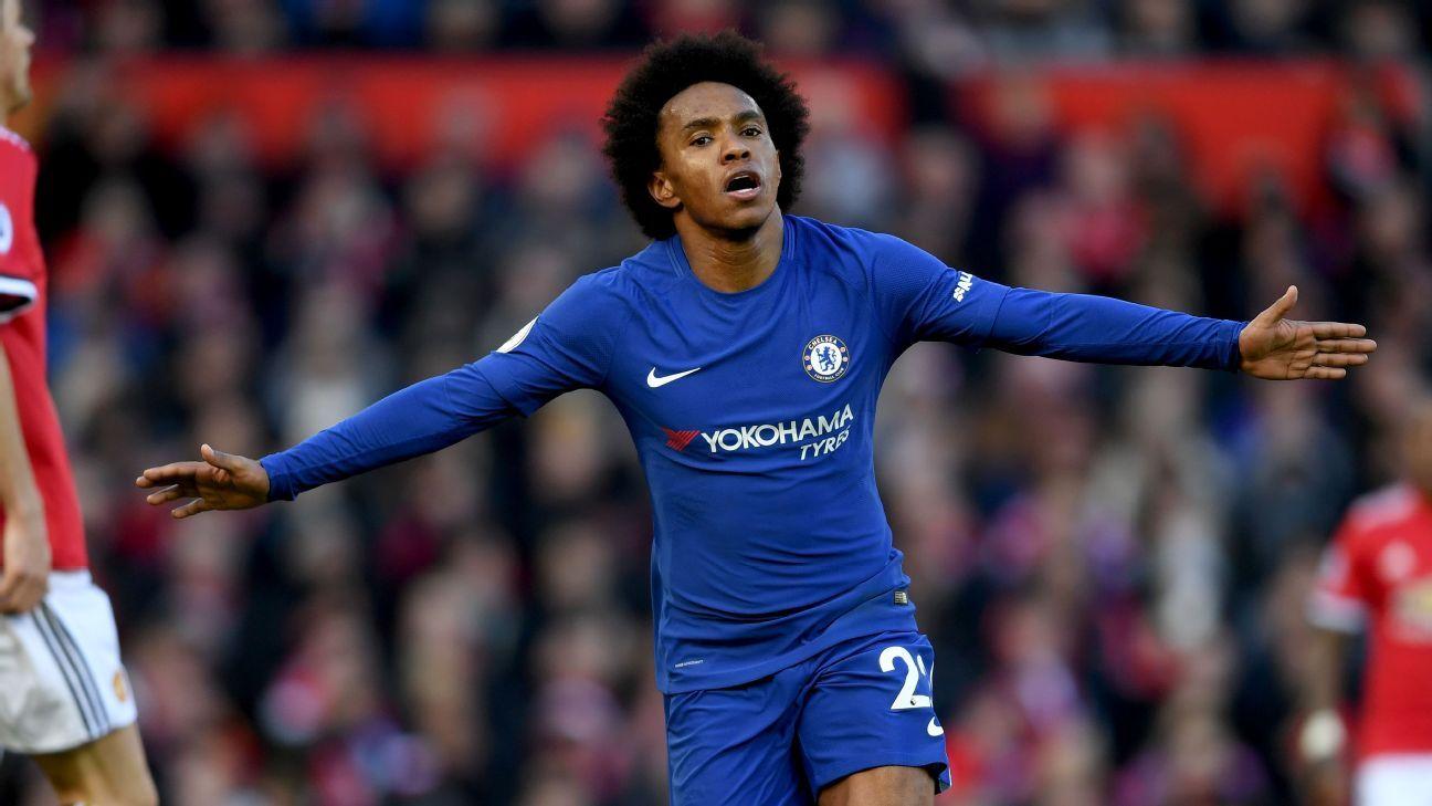 Chelsea's Willian celebrates scoring opening goal vs Manchester United