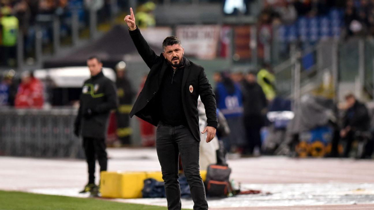 AC Milan Gennaro Gattuso signals to his team during their match against Roma.