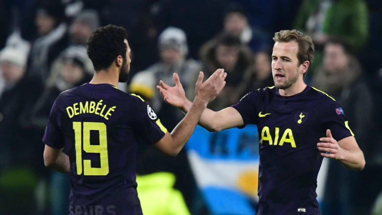 Mousa Dembele and harry celebrate following Tottenham's 2-2 draw at Juventus.