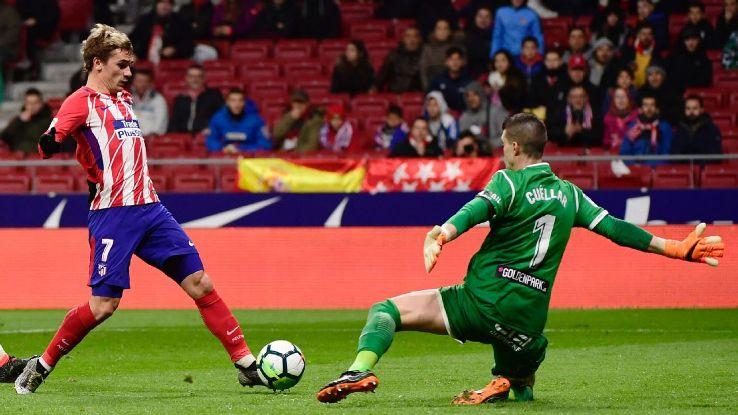 Antoine Griezmann scores for Atletico Madrid against Leganes.