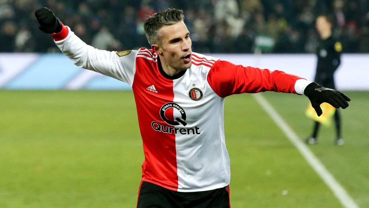 Robin van Persie celebrates after scoring his 300th career goal during a KNVB Cup game for Feyenoord.