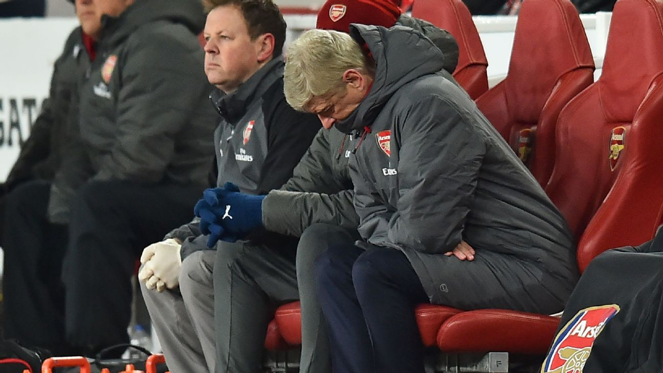 Arsene Wenger reacts in his seat during the English Premier League football match between Arsenal and Manchester City.