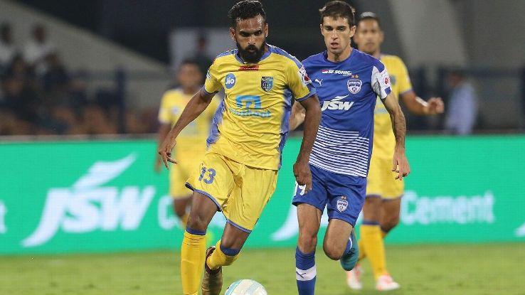 Kerala Blasters' CK Vineeth on the attack against Bengaluru FC.