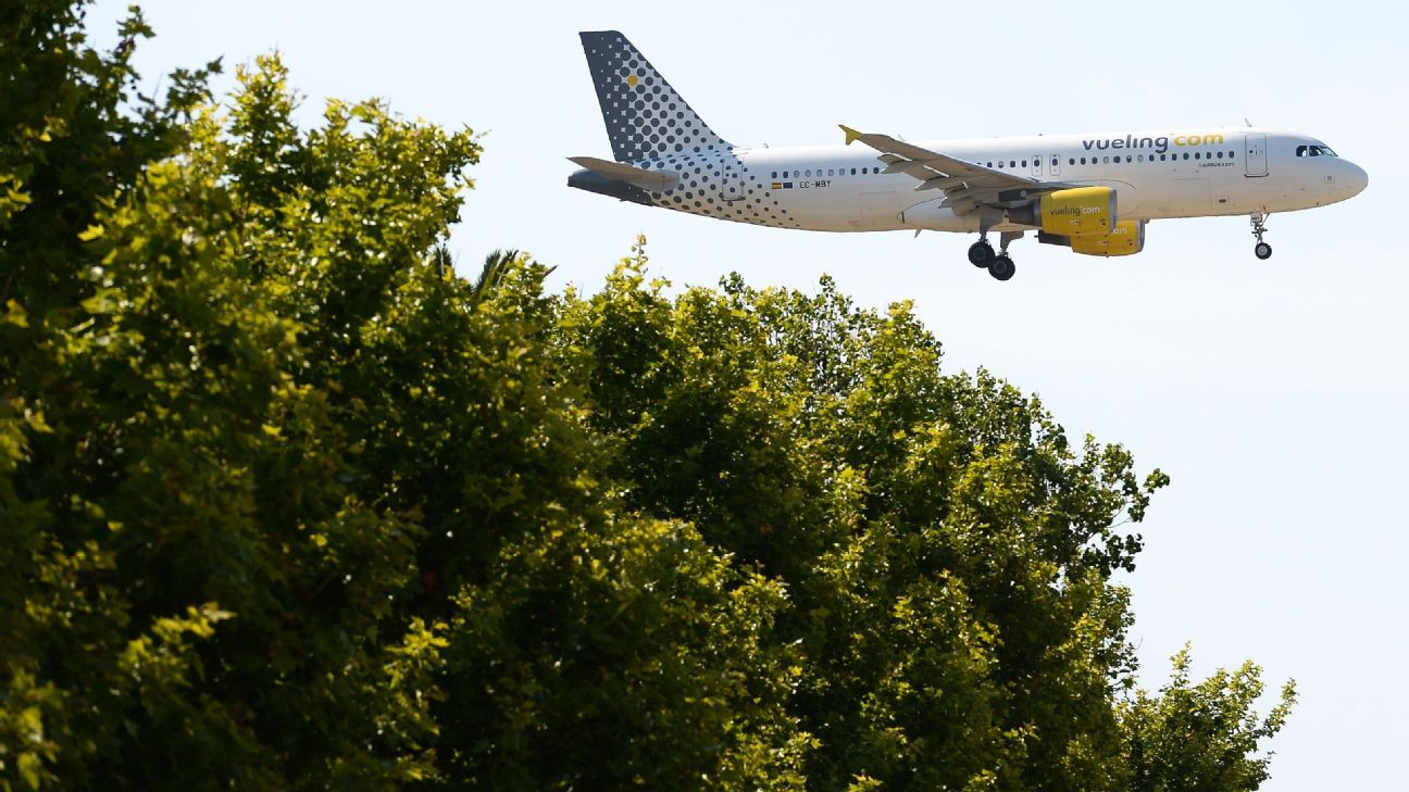 A Vueling plane, not flying over Barcelona star Lionel Messi's house, earlier
