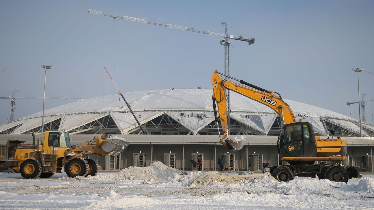 Construction at Samara Stadium, which will host six matches, is yet to be finished as the World Cup draws near.