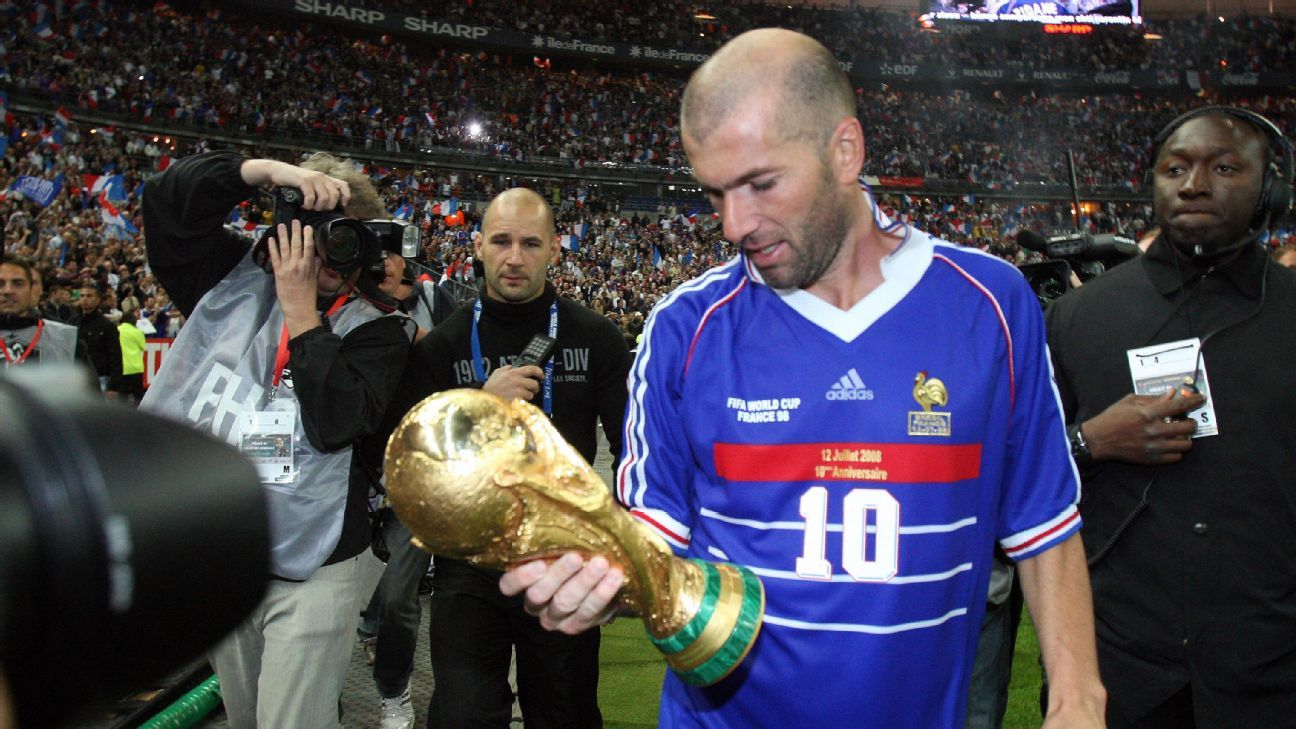 Zinedine Zidane had only scored nine international goals in four years, prior to the 1998 World Cup final.