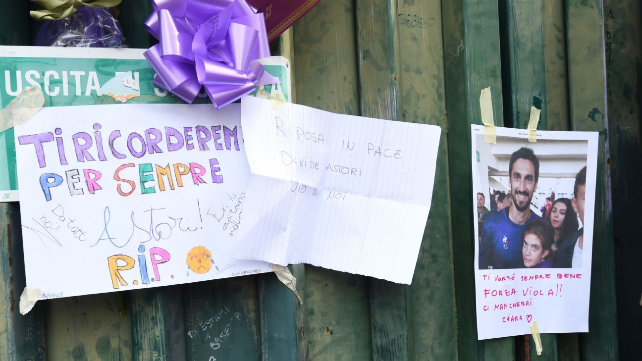 Tributes poured in for Astori outside Fiorentina's stadium on Sunday as the football world reeled.